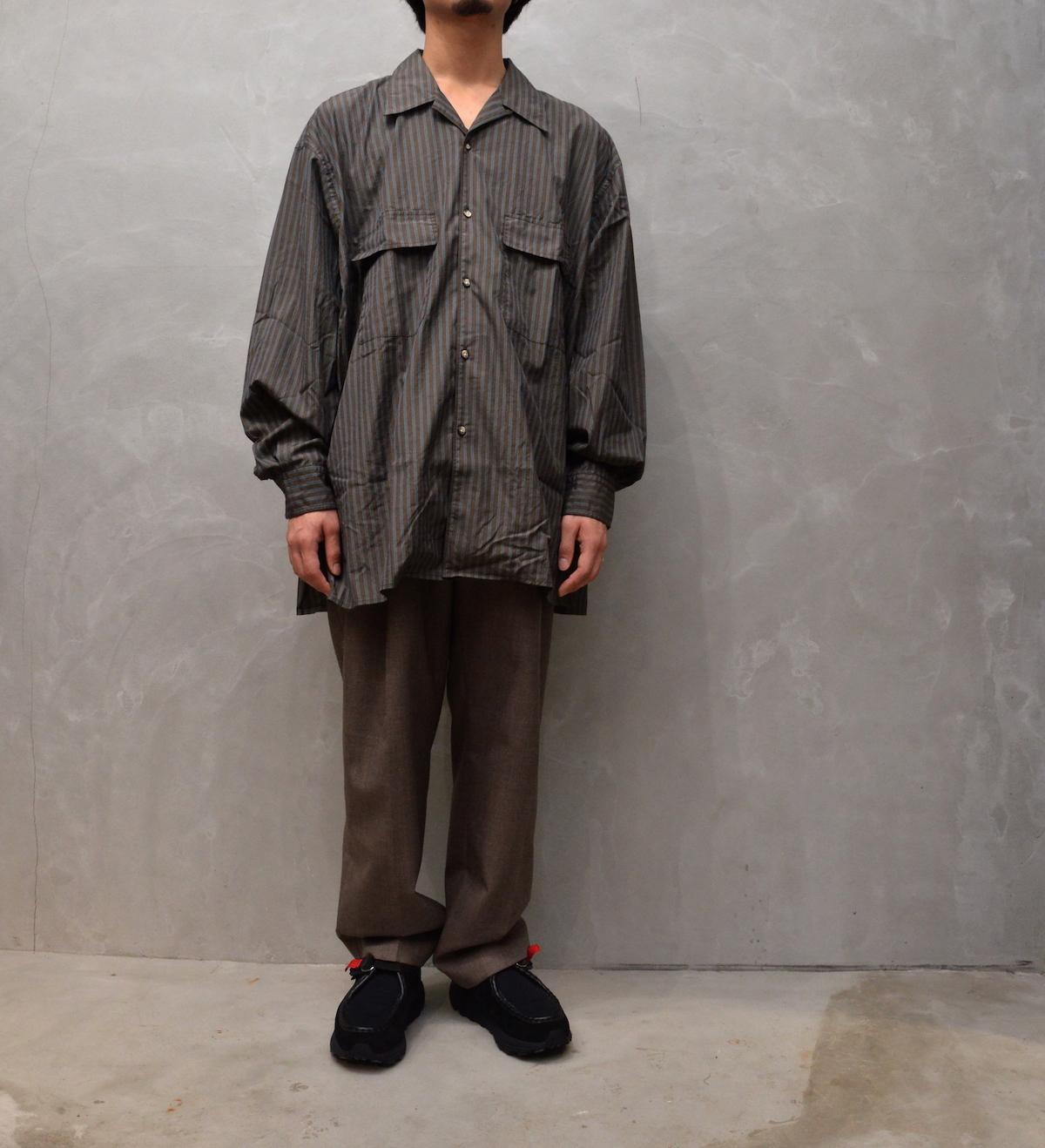 Marvine Pontiak shirt makers 「 Open Collar SH / Brown & Blue ST 」