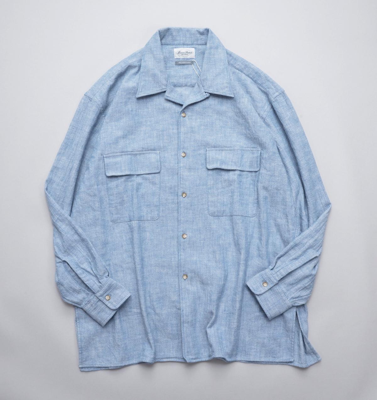 Marvine Pontiak shirt makers 「 Open Collar SH / Blue Kersey 」