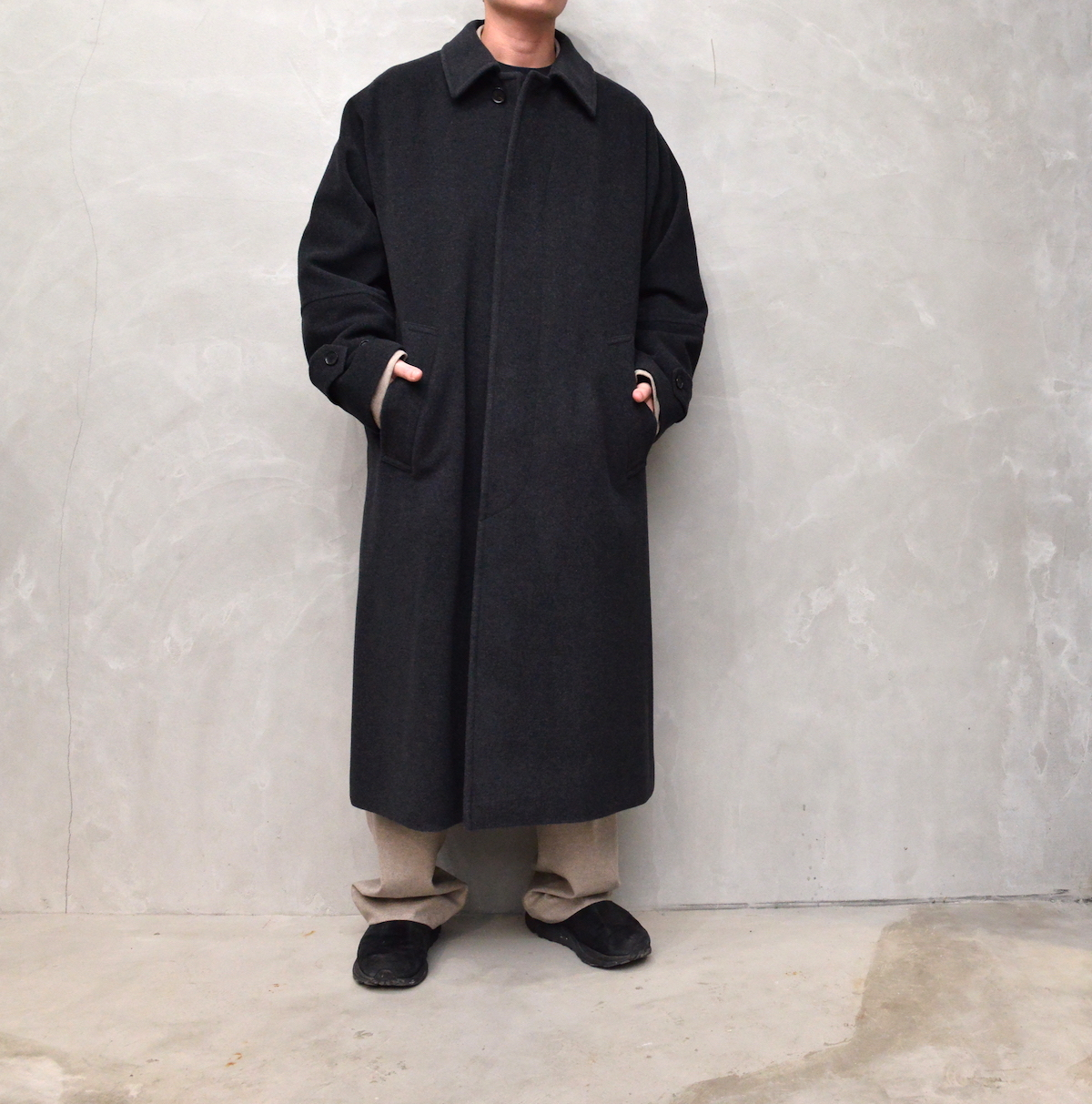 AURALEE 「 CASHMERE WOOL MOSSER BIG COAT /  TOP CHARCOAL 」