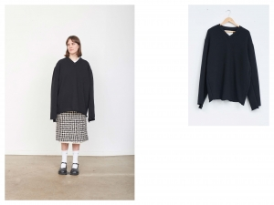 CAMIEL FORTGENS 「 10.04.01 V-NECK SWEATER COTTON JERSEY 」