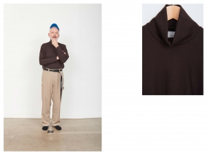 CAMIEL FORTGENS 「 10.01.01 TAILORED TEE TURTLE WOOL JERSEY / BROWN 」