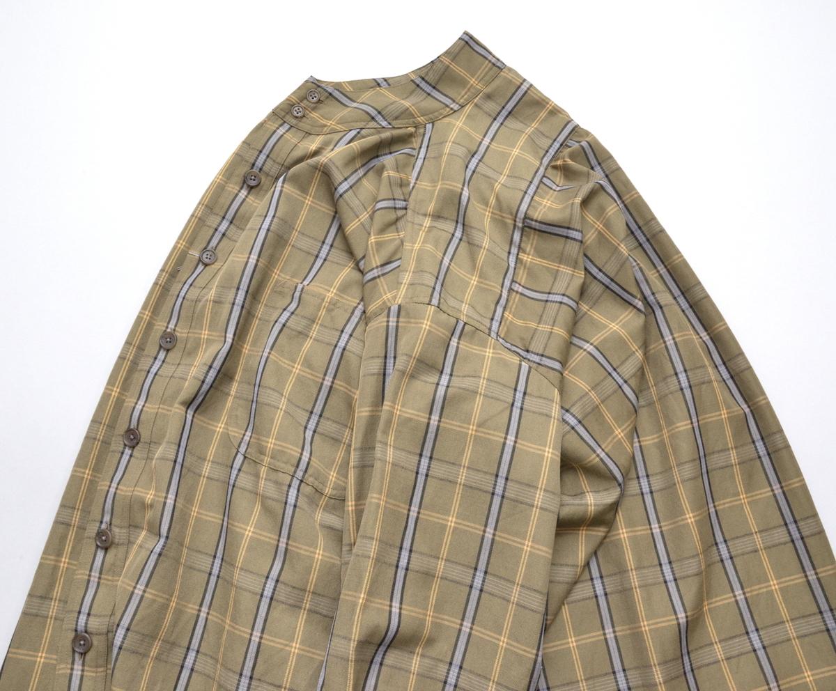HOMELESS TAILOR 「 STAND COLLAR SHIRT / khaki 」