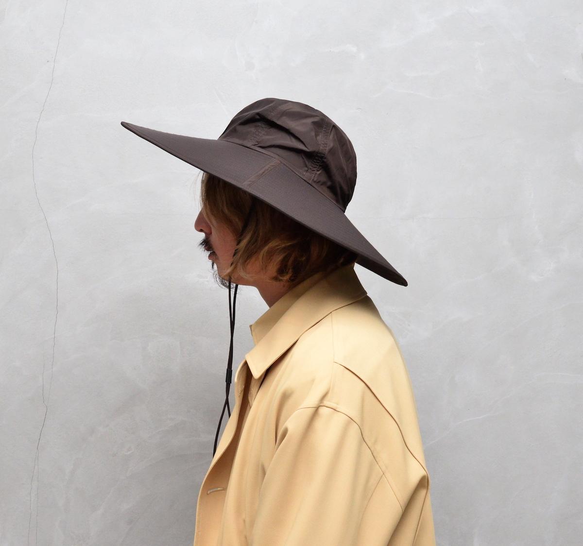 AURALEE 「 HIGH COUNT LIGHT NYLON LONG BRIM HAT MADE BY KIJIMA TAKAYUKI / DARK BROWN 」