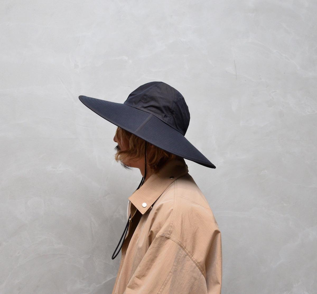 AURALEE 「 WASHED FINX RIPSTOP CHAMBRAY LONG BRIM HAT MADE BY KIJIMA TAKAYUKI / BLACK CHAMBRAY 」