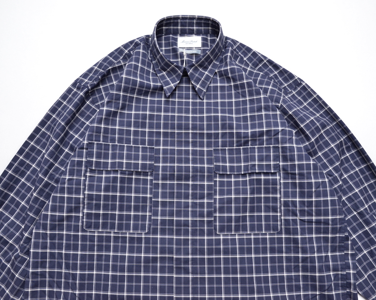 Marvine Pontiak shirt makers 「 Fly Front 3 Button SH / Navy CH 」