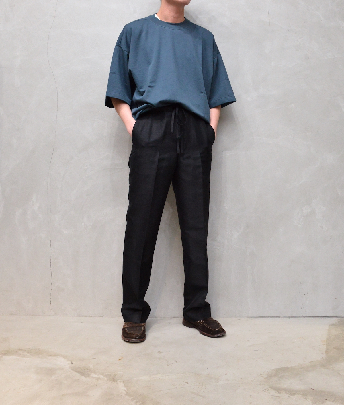 AURALEE 「 SUPER HIGH GAUGE NAPPED SWEAT TEE / DARK BLUE 」