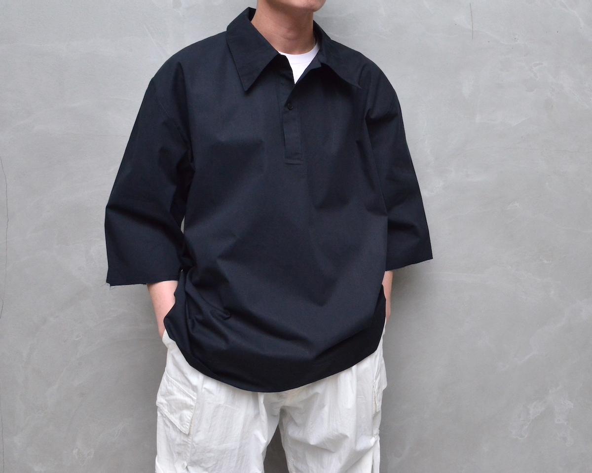 CAMIEL FORTGENS 「 11.03.06 1BUTTON POLO SHIRT SHORT SLEEVE COTTON / BLACK 」