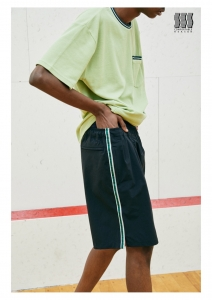 COMFORTABLE REASON 「Athletic Shorts / BLACK(GREEN LINE)」