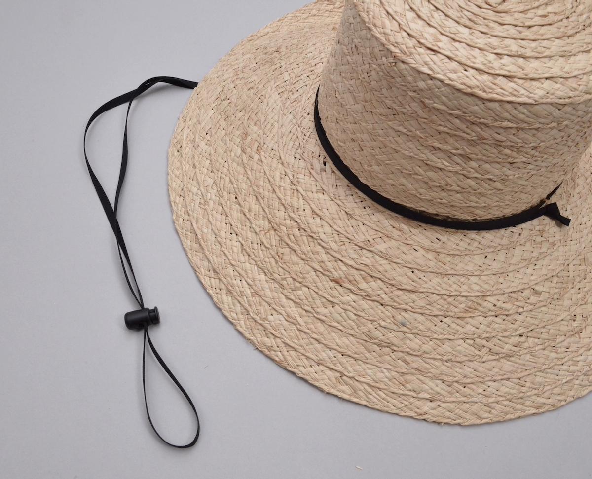 凹凸 -bocodeco- 「 Wide Raffia Long Brim Hat / NAT-BLK 」