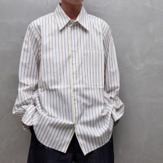 CAMIEL FORTGENS 「 11.03.01 BASIC SHIRT COTTON  / BROWN/BLUE - STRIPE 」