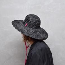 凹凸 -bocodeco- 「 Grosgrain / Raffia Mix Hat - BLACK PINK 」