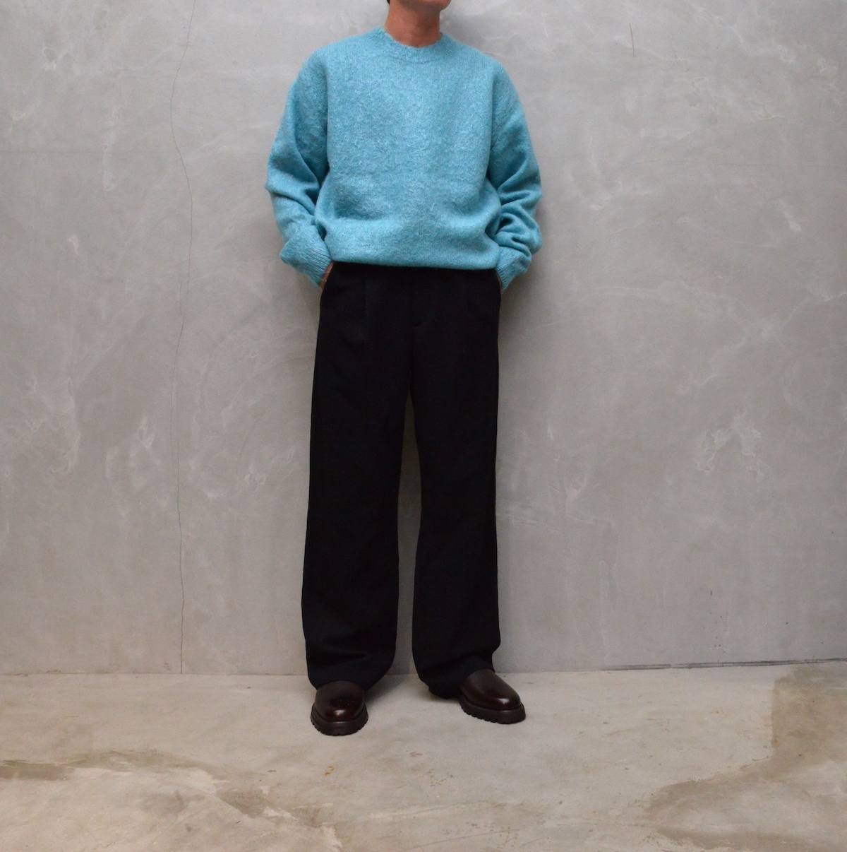 AURALEE 「 BRUSHED SUPER KID MOHAIR KNIT P/O - TURQUOISE BLUE 」