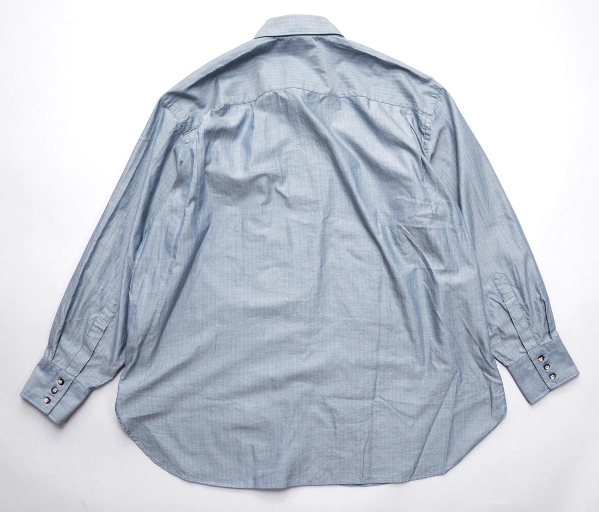 Marvine Pontiak shirt makers 「 Fly Front 3 Button SH - Blue Gray Herringbone 」