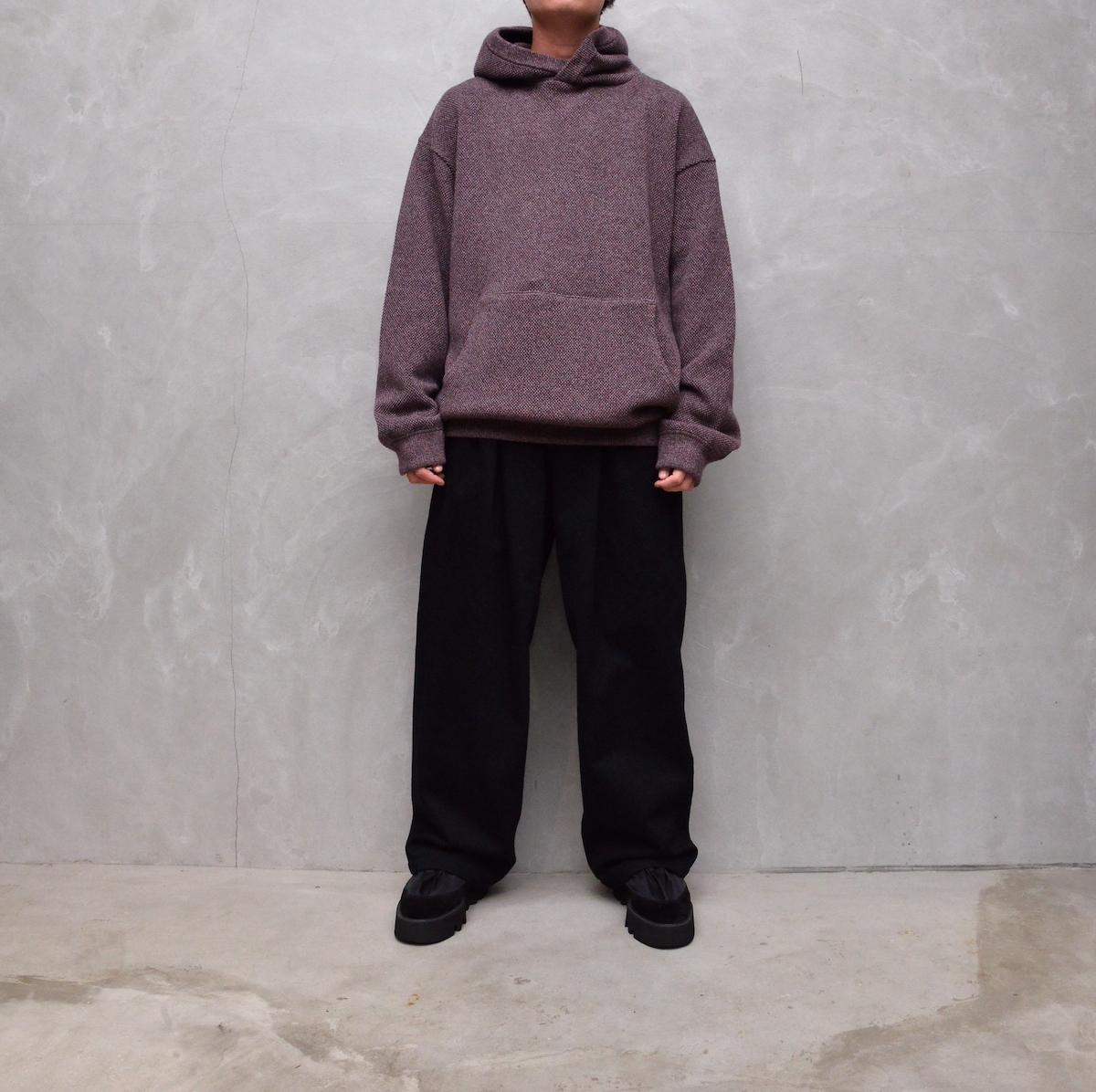 crepuscule 「 Moss stitch hoodie / Burgundy 」