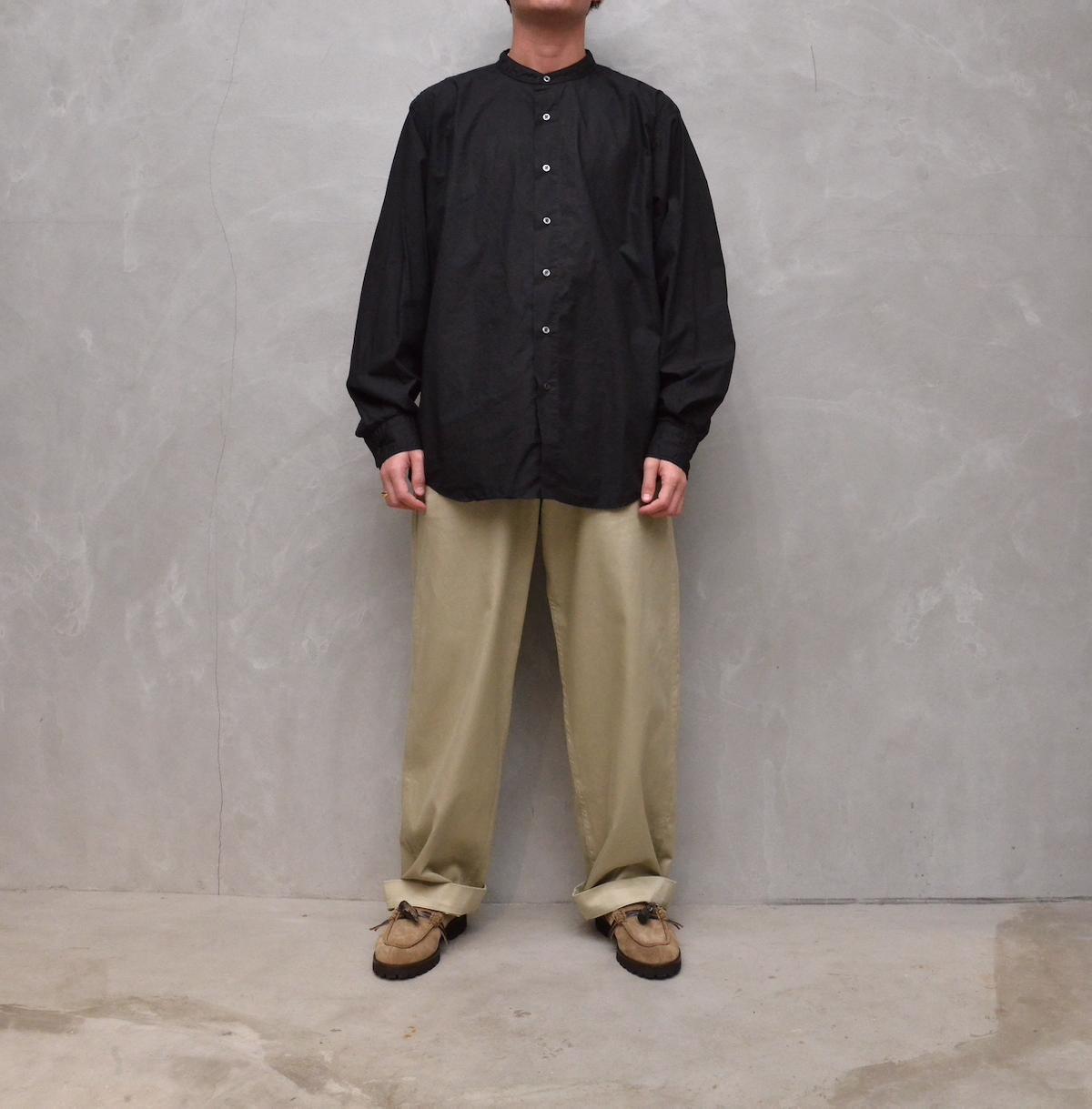 CIOTA 「 スビンコットン タイプライター バンドカラーシャツ / ブラック 」