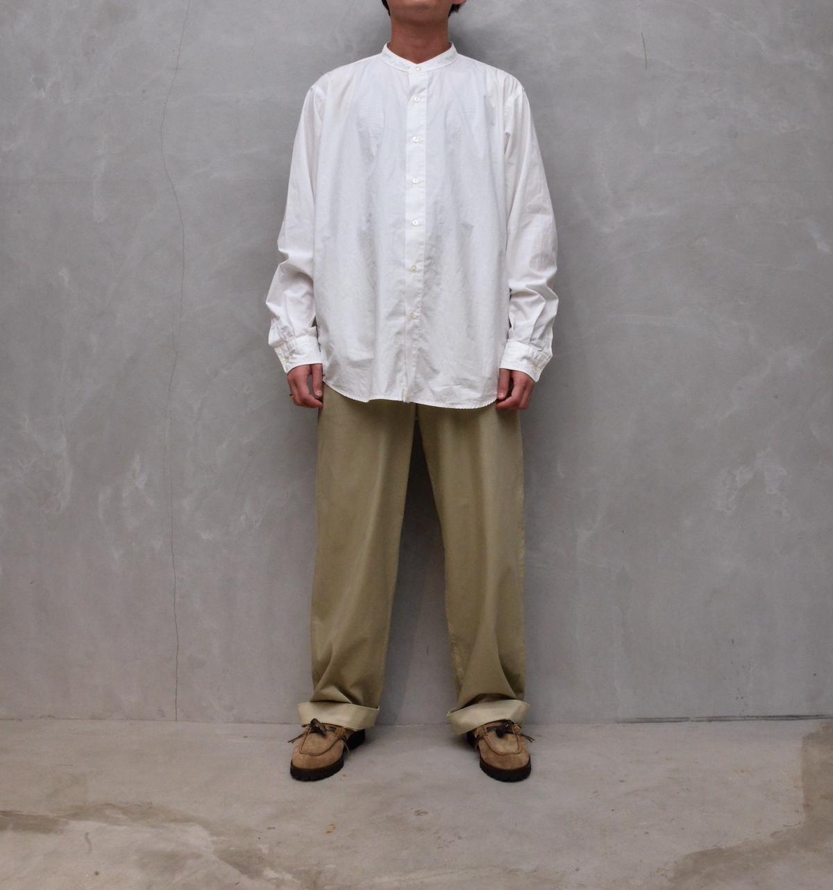 CIOTA 「 スビンコットン タイプライター バンドカラーシャツ / ホワイト 」