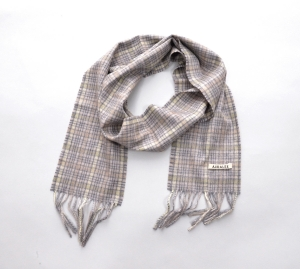 AURALEE 「 CASHMERE CHECK NARROW STOLE / LIME YELLOW CHECK 」