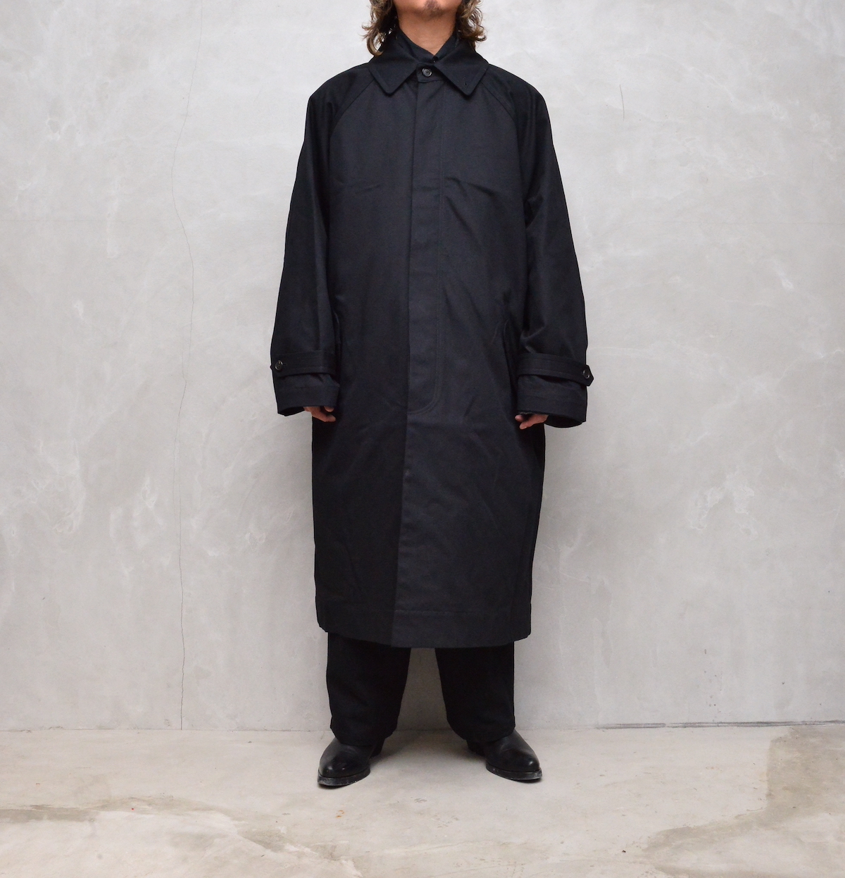 """HED MAYNER 「AW21_O30_BLK/WSH  """"TRENCH COAT""""」"""