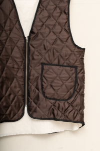 CAMIEL FORTGENS 「12.05.02 QUILTED WORKER VEST VISCOSE WOVEN DOWN / BROWN 」